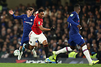 30th October 2019; Stamford Bridge, London, England; English Football League Cup, Carabao Cup, Chelsea Football Club versus Manchester United; Anthony Martial of Manchester Utd takes on Mason Mount of Chelsea - Strictly Editorial Use Only. No use with unauthorized audio, video, data, fixture lists, club/league logos or 'live' services. Online in-match use limited to 120 images, no video emulation. No use in betting, games or single club/league/player publications