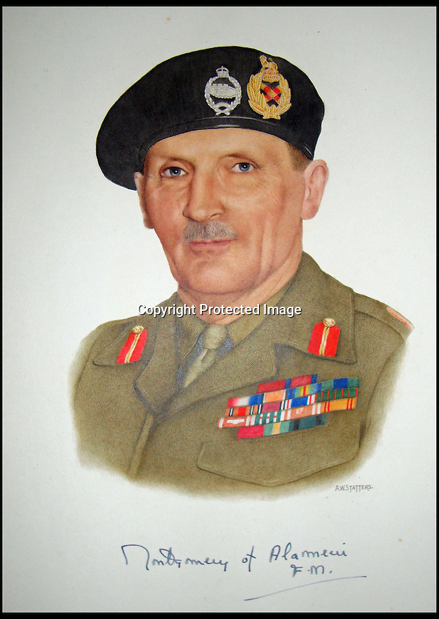 BNPS.co.uk (01202) 558833<br /> Picture: Alex Statters<br /> <br /> Field Marshal Montgomery - just after WW2<br /> <br /> A collection of portraits by an amateur artist who sent his paintings to famous subjects for them to sign has been unearthed. Self-taught Alex Statters spent nearly 40 years at his hobby, painting the great and important figures from photographs then trying to get them signed. The painter often had to wait as long as a year to get a reply. Statters was born in the early 1890s and after a working life in Newcastle settled in Southport, Merseyside. It is thought he died in the early 1960s. The collection has passed down through his family to his grandchildren who until recently were only aware of a few of the portraits that were hung in the family home.