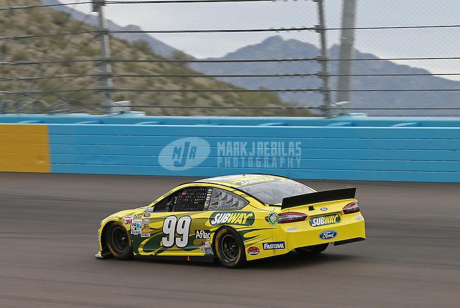 Mar. 3, 2013; Avondale, AZ, USA; NASCAR Sprint Cup Series driver Carl Edwards during the Subway Fresh Fit 500 at Phoenix International Raceway. Mandatory Credit: Mark J. Rebilas-