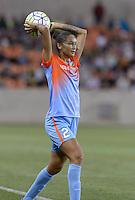 Poliana (2) of the Houston Dash throws the ball inbounds in the second half against the Chicago Red Stars on Saturday, April 16, 2016 at BBVA Compass Stadium in Houston Texas.