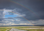 Teton County, Montana: Double rainbow over open rangelands