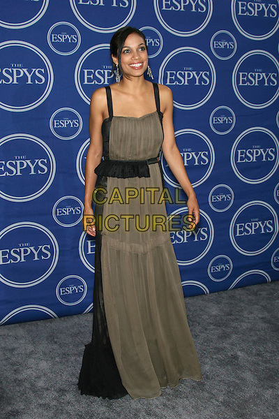 ROSARIO DAWSON.2006 ESPY Awards - Press Room - Press Room held at the Kodak Theatre, Hollywood, California, USA..July 12th, 2006.Photo: Zach Lipp/AdMedia/Capital Pictures.Ref: ZL/ADM.full length black brown grey gray dress sheer.www.capitalpictures.com.sales@capitalpictures.com.© Capital Pictures.