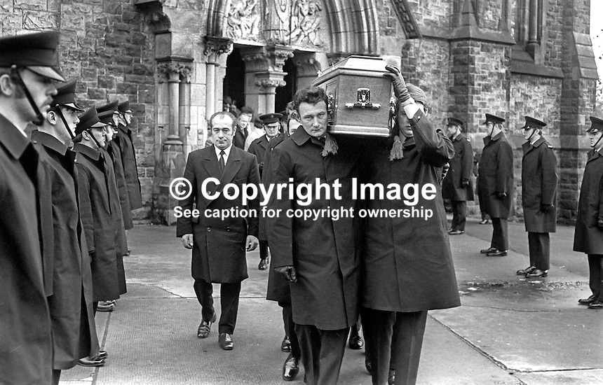 RUC Guard of Honour for murdered colleague, Sgt Patrick Maxwell, as his coffin, carried by colleagues emerges from St Patrick's Roman Catholic Church, Dungannon, Co Tyrone, N Ireland. Sgt Maxwell, 36 years, married with 5 children, was one of two RUC officers murdered by the Provisional IRA in an ambush near Pomeroy, also Co Tyrone. The dead & injured police officers were on a Good Samaritan call delivering a message to a man advising him that his sister had died in the Rep of Ireland. It transpired that the message passed on by the Rep of Ireland police was false. Sgt Maxwell died on 25th November 1975, his funeral was on 27th November 1975. 197511270750a..Copyright Image from Victor Patterson, 54 Dorchester Park, Belfast, United Kingdom, UK.  Tel: +44 28 90661296; Mobile: +44 7802 353836; Voicemail: +44 20 88167153;  Email1: victorpatterson@me.com; Email2: victor@victorpatterson.com..For my Terms and Conditions of Use go to http://www.victorpatterson.com/Terms_%26_Conditions.html