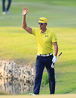 Raffa Cabrera Bello (ESP) on the 18th green during Round 4 of the UBS Hong Kong Open, at Hong Kong golf club, Fanling, Hong Kong. 26/11/2017<br /> Picture: Golffile | Thos Caffrey<br /> <br /> <br /> All photo usage must carry mandatory copyright credit     (&copy; Golffile | Thos Caffrey)