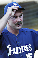 San Diego Padres Manager Bruce Bochy before a 2002 MLB season game against the Los Angeles Dodgers at Dodger Stadium, in Los Angeles, California. (Larry Goren/Four Seam Images)