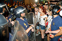 19/07/2012. madrid. Spain. EU Member. Public afficial Demonstration against the Rajoy Goberment  (PP) economic adjustment against labour reform.  Spanish Crisis. At the end of the demonstration a big group of person wanted to assault the parlament and some incidents hapened with  the special  Police (UIP) . They fighted with manifestand and Fire fighters of madrid. 19/07/2012. madrid. Spain. EU Member. Public afficial Demonstration against the Rajoy Goberment  (PP) economic adjustment against labour reform.  Spanish Crisis. At the end of the demonstration a big group of person wanted to assault the parlament and some incidents hapened with  the special  Police (UIP) . They fighted with manifestand and Fire fighters of madrid. (c) Bjorn S. Johnson, Theresa Martins and Nacho Lopez/ DyD Fotografos