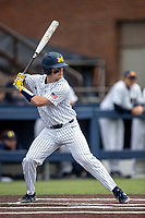 Michigan Wolverines catcher Joe Donovan (0) at bat against the Rutgers Scarlet Knights on April 27, 2019 in the NCAA baseball game at Ray Fisher Stadium in Ann Arbor, Michigan. Michigan defeated Rutgers 10-1. (Andrew Woolley/Four Seam Images)