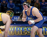 BROOKINGS, SD - FEBRUARY 11: Blake Wolters from South Dakota State University battles with Brandon Metz from North Dakota State University during their heavyweight match Friday night at Frost Arena in Brookings, SD. (Photo by Dave Eggen/Inertia)