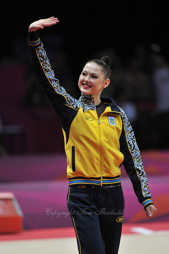 August 11, 2012; London, Great Britain; ALINA MAKSYMENKO of Ukraine waves to fans during march-out after AA final at 2012 London Olympics. .