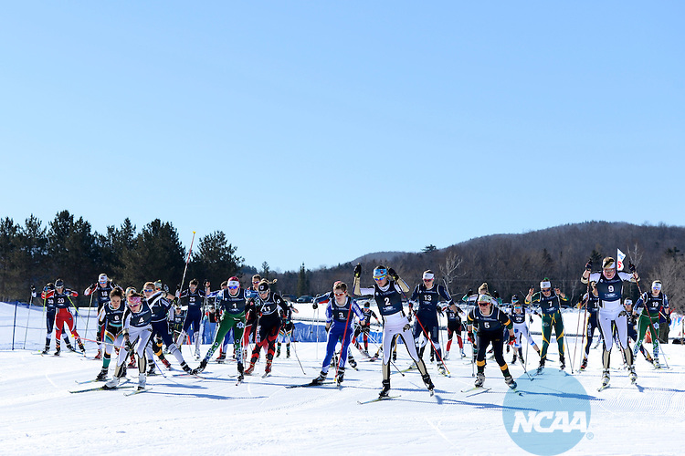 09 MAR 2013:  The field leaves the start during the Women's Nordic Freestyle competition at the 2013 NCAA Men and Women's Division I Skiing Championship held at Rikert Nordic Center in Middlebury, VT. Brett Wilhelm/ NCAA Photos