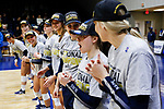 PENSACOLA, FL - DECEMBER 09: Elizabeth Mohr (13) of Concordia University, St. Paul, center, is named the tournament'm Most Outstanding Player during the Division II Women's Volleyball Championship held at UWF Field House on December 9, 2017 in Pensacola, Florida. (Photo by Timothy Nwachukwu/NCAA Photos via Getty Images)