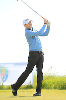 Gareth Bohill (Co. Louth) on the 1st tee during Round 1 of the Irish Amateur Close Championship at Seapoint Golf Club on Saturday 7th June 2014.<br /> Picture:  Thos Caffrey / www.golffile.ie
