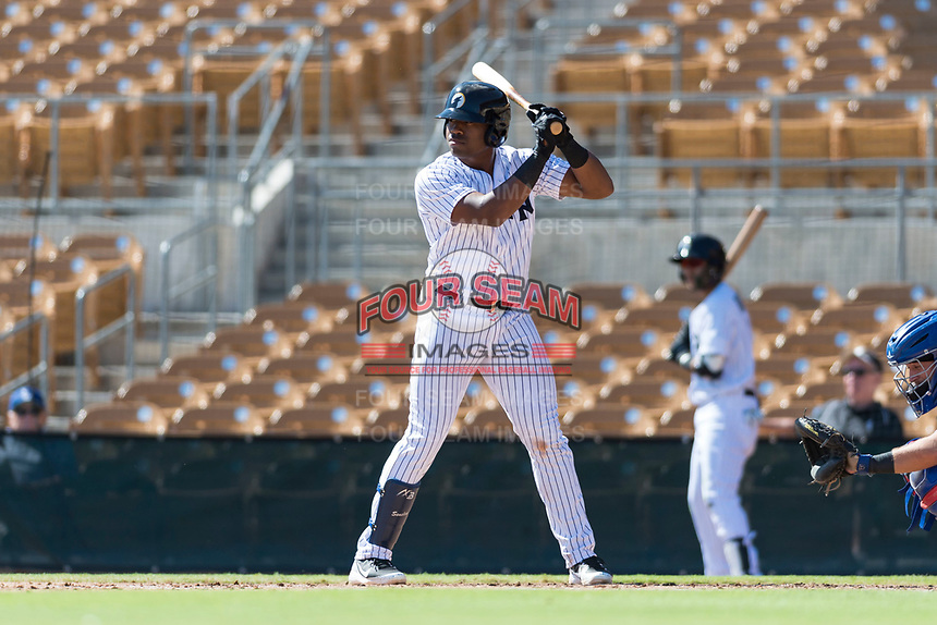 Glendale Desert Dogs first baseman Steven Sensley (21), of the New York Yankees organization, at bat during an Arizona Fall League game against the Mesa Solar Sox at Camelback Ranch on October 15, 2018 in Glendale, Arizona. Mesa defeated Glendale 8-0. (Zachary Lucy/Four Seam Images)