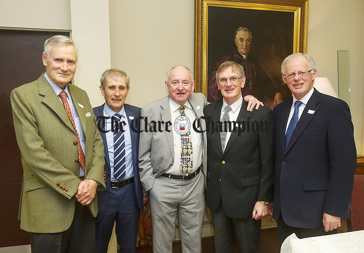 "Pascal Seymour, Paul Kennedy,  Eamonn ""Edger"" O Kennedy, Paschal Russell and John O Connell at the 50th reunion of the St Flannan's College 1966  Leaving Cert class. Photograph by John Kelly."