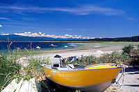 Savary Island, Northern Gulf Islands, BC, British Columbia, Canada - Motorboat on Beach at Indian Point, along Georgia Strait, Pacific Ocean