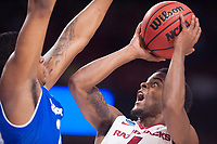 NWA Democrat-Gazette/J.T. WAMPLER Arkansas' Daryl Macon takes a shot against Seton Hall Friday Mar. 17, 2017 during the first round of the NCAA Tournament at the Bon Secours Wellness Arena in Greenville, South Carolina. Arkansas won 77-71 and will advance to the second round, playing Sunday at the same location.