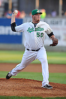 Aaron Brooks #50 of the Clinton LumberKings throws against the South Bend Sliver Hawks at Ashford University Field on July 26, 2014 in Clinton, Iowa. The Sliver Hawks won 2-0.   (Dennis Hubbard/Four Seam Images)