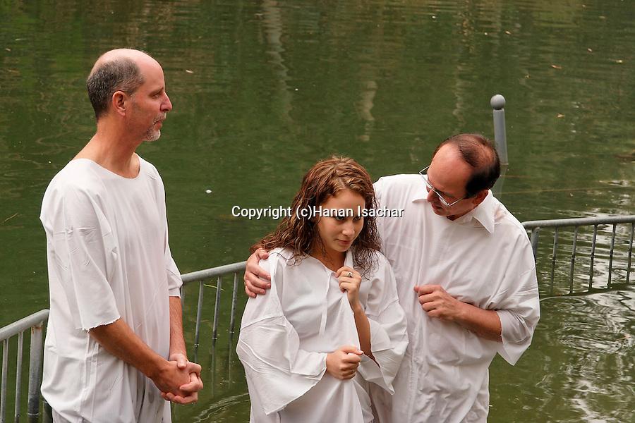 Israel, Jordan Valley, Baptism ceremony in Yardenit