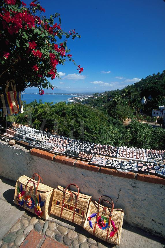 Local crafts on display overlooking the coastline, Puerto Vallarta, Mexico