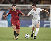 Football Soccer: UEFA Champions League AS Roma vs Chelsea Stadio Olimpico Rome, Italy, October 31, 2017. <br /> Roma's Kevin Strootman (l) in action with Chelsea's Cesar Azpillicueta (r) during the Uefa Champions League football soccer match between AS Roma and Chelsea at Rome's Olympic stadium, October 31, 2017.<br /> UPDATE IMAGES PRESS/Isabella Bonotto