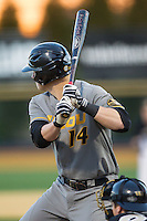 Zach Lavy (14) of the Missouri Tigers at bat against the Wake Forest Demon Deacons at Wake Forest Baseball Park on February 22, 2014 in Winston-Salem, North Carolina.  The Demon Deacons defeated the Tigers 1-0.  (Brian Westerholt/Four Seam Images)