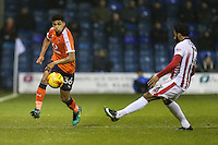 James Justin of Luton Town under pressure from Jordan Cranston of Cheltenham Town during the Sky Bet League 2 match between Luton Town and Cheltenham Town at Kenilworth Road, Luton, England on 31 January 2017. Photo by David Horn / PRiME Media Images