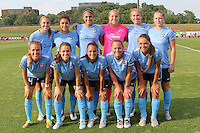 Piscataway, NJ - Sunday June 19, 2016: Sky Blue starting eleven during a regular season National Women's Soccer League (NWSL) match between Sky Blue FC and Seattle Reign FC at Yurcak Field.