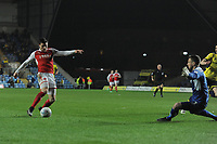 Fleetwood Town's Bobby Grant sees his shot saved by Oxford United's Simon Eastwood<br /> <br /> Photographer Kevin Barnes/CameraSport<br /> <br /> The EFL Sky Bet League One - Oxford United v Fleetwood Town - Tuesday 10th April 2018 - Kassam Stadium - Oxford<br /> <br /> World Copyright &copy; 2018 CameraSport. All rights reserved. 43 Linden Ave. Countesthorpe. Leicester. England. LE8 5PG - Tel: +44 (0) 116 277 4147 - admin@camerasport.com - www.camerasport.com