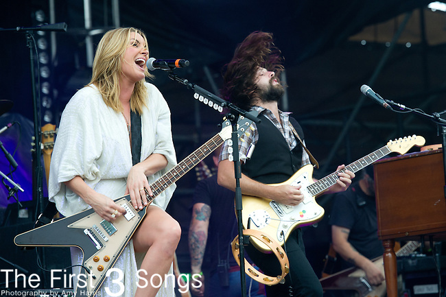Grace Potter and Scott Tournet of Grace Potter and the Nocturnals performs during the All Good Music Festival at Legend Valley in Thornville, Ohio.