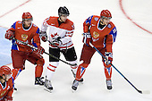 Dmitri Kulikov (Russia - 3), John Tavares (Canada - 19), Evgeni Grachev (Russia - 15) - Canada defeated Russia 6-5 on Saturday, January 3, 2009, at Scotiabank Place in Kanata (Ottawa), Ontario during the 2009 World Junior Championship.