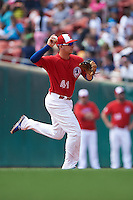 Buffalo Bisons second baseman Andy Burns (41) throws to first during a game against the Scranton/Wilkes-Barre RailRiders on June 10, 2015 at Coca-Cola Field in Buffalo, New York.  Scranton/Wilkes-Barre defeated Buffalo 7-2.  (Mike Janes/Four Seam Images)