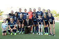 Cary, North Carolina  - Saturday August 05, 2017: North Carolina Courage starters and fans. Front row (from left): fan, McCall Zerboni, Makenzy Doniak, Kristen Hamilton, fan, Taylor Smith, fan, Jaelene Hinkle, fan; Back row (from left): fan, fan, Abby Erceg, Lynn Williams, Katelyn Rowland, Ashley Hatch, Samantha Mewis, Abby Dahlkemper, and fan prior to a regular season National Women's Soccer League (NWSL) match between the North Carolina Courage and the Seattle Reign FC at Sahlen's Stadium at WakeMed Soccer Park. The Courage won the game 1-0.