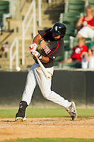 Cleuluis Rondon (13) of the Kannapolis Intimidators takes his swings against the Rome Braves at CMC-Northeast Stadium on August 25, 2013 in Kannapolis, North Carolina.  The Intimidators defeated the Braves 9-0.  (Brian Westerholt/Four Seam Images)
