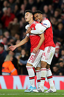 Gabriel Martinelli celebrates scoring Arsenal's second goal with Reiss Nelson during Arsenal vs Standard Liege, UEFA Europa League Football at the Emirates Stadium on 3rd October 2019