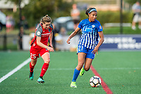 Boston, MA - Sunday September 10, 2017: Meghan Klingenberg and Margaret Purce during a regular season National Women's Soccer League (NWSL) match between the Boston Breakers and Portland Thorns FC at Jordan Field.