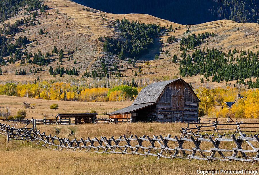 Park County, MT: Wood fence line and barn in fall.
