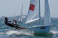 470 / Min GU - Lizhu HUANG  (CHN)<br /> ISAF Sailing World Cup Final - Melbourne<br /> St Kilda sailing precinct, Victoria<br /> Port Phillip Bay Tuesday 6 Dec 2016<br /> &copy; Sport the library / Jeff Crow
