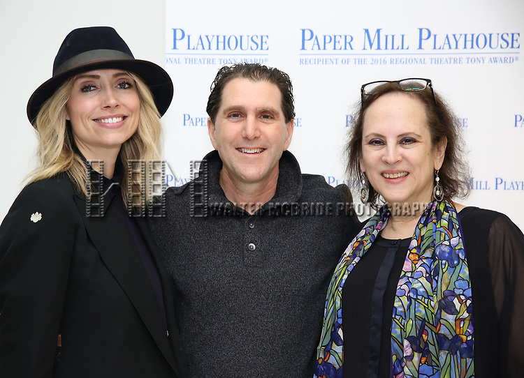 """Kirsten Guenther, Nolan Gasser and Mindi Dickstein during the meet the cast photo call for the Paper Mill Playhouse production of  """"Benny & Joon"""" at Baza Dance Studios on 3/21/2019 in New York City."""