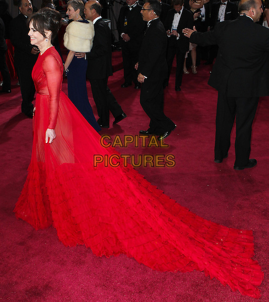 Sally Field (wearing Valentino).85th Annual Academy Awards held at the Dolby Theatre at Hollywood & Highland Center, Hollywood, California, USA..February 24th, 2013.oscars full length red sheer frills train dress side profile long sleeves .CAP/ADM/SLP/COL.©Colin/StarlitePics/AdMedia/Capital Pictures Oscars