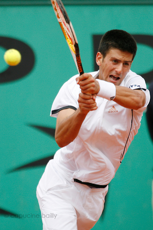 Roland Garros. Paris, France. May 31st 2007..2nd Round..Novak DJOKOVIC against Laurent RECOUDERC..