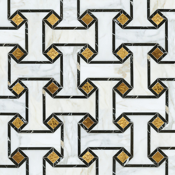 Leone, a waterjet stone and glass mosaic, shown in Gold Glass, honed Calacatta, and polished Saint Laurent.