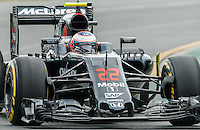 March 18, 2016: Jenson Button (GBR) #22 from the McLaren Honda Formula 1 team rounds turn 2 during practise session one at the 2016 Australian Formula One Grand Prix at Albert Park, Melbourne, Australia. Photo Sydney Low