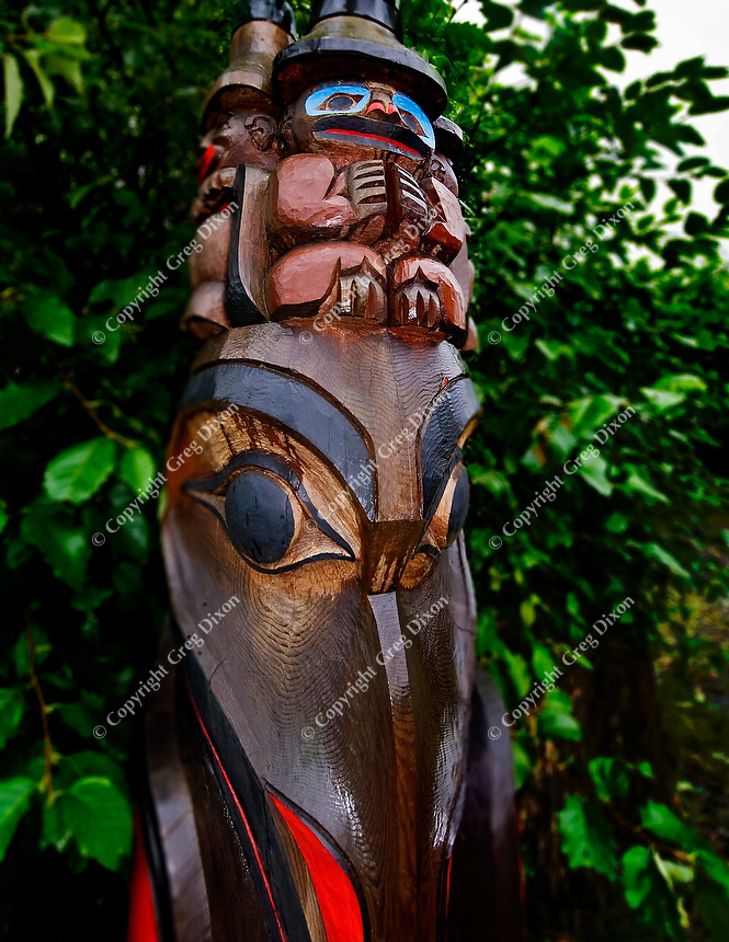 This Tlingit-style totem pole sits in Potlatch Park, among many traditional Native-Alaskan totem poles and buildings. Photo taken Wed., Sept. 7, 2011