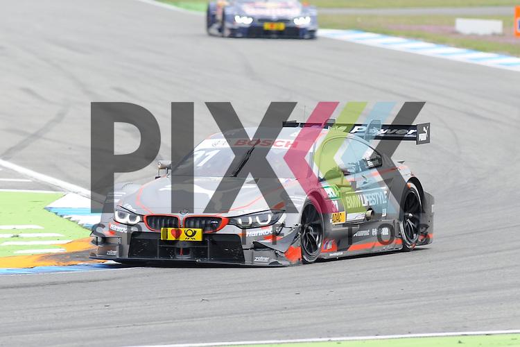 # 31 Tom Blomqvist auf BMW M4 DTM vom BMW Team RBM mit beschaedigter Frontschuerze beim Rennen der DTM auf dem Hockenheimring.<br /> <br /> Foto &copy; P-I-X.org *** Foto ist honorarpflichtig! *** Auf Anfrage in hoeherer Qualitaet/Aufloesung. Belegexemplar erbeten. Veroeffentlichung ausschliesslich fuer journalistisch-publizistische Zwecke. For editorial use only.