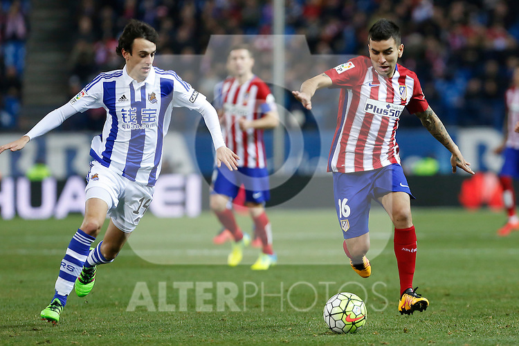 Atletico de Madrid´s Correa and Real Sociedad´s Ruben Pardo during 2015-16 La Liga match between Atletico de Madrid and Real Sociedad at Vicente Calderon stadium in Madrid, Spain. March 01, 2016. (ALTERPHOTOS/Victor Blanco)