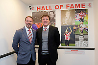 Lincoln City director David Lowes, left, alongside Lincoln City&rsquo;s record appearance holder, Grant Brown, right, as he is inducted into the club&rsquo;s Hall of Fame. <br /> <br /> Photographer Chris Vaughan/CameraSport<br /> <br /> The EFL Sky Bet League Two - Lincoln City v Cheltenham Town - Saturday 13th April 2019 - Sincil Bank - Lincoln<br /> <br /> World Copyright &copy; 2019 CameraSport. All rights reserved. 43 Linden Ave. Countesthorpe. Leicester. England. LE8 5PG - Tel: +44 (0) 116 277 4147 - admin@camerasport.com - www.camerasport.com