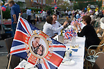 Royal Wedding Street Party. Barnes London. Prince William Kate Middleton Princess Catherine souvenir Union Jack Flag. April 29 2011.