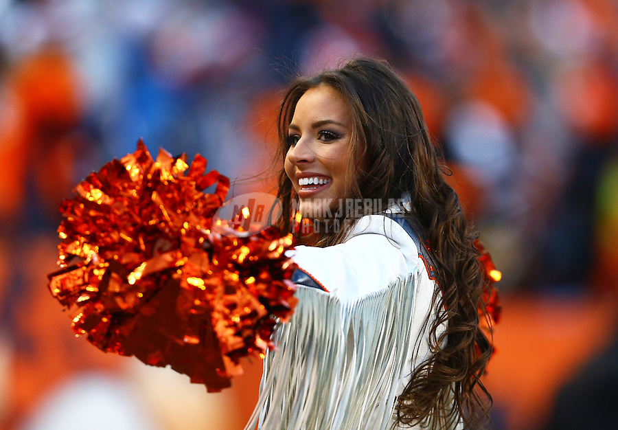 Jan 17, 2016; Denver, CO, USA; Denver Broncos cheerleaders perform against the Pittsburgh Steelers during the AFC Divisional round playoff game at Sports Authority Field at Mile High. Mandatory Credit: Mark J. Rebilas-USA TODAY Sports