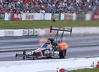 May 31, 2014; Englishtown, NJ, USA; NHRA top fuel driver Dom Lagana during qualifying for the Summernationals at Raceway Park. Mandatory Credit: Mark J. Rebilas-