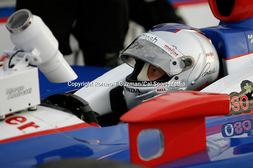 April 5, 2009: Marco Andretti driving the meijer car #26 is cooled by a fan as he waits to start the warm up runs prior to the running of during the IRL IndyCar Series Honda Grand Prix of St.Petersburg on the streets of St. Petersburg, Florida